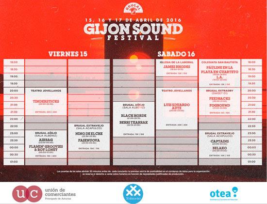 Cartel por días del Gijón Sound Festival.
