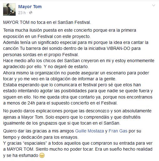 Mayor Tom explica su ausencia en el SanSan Festival.