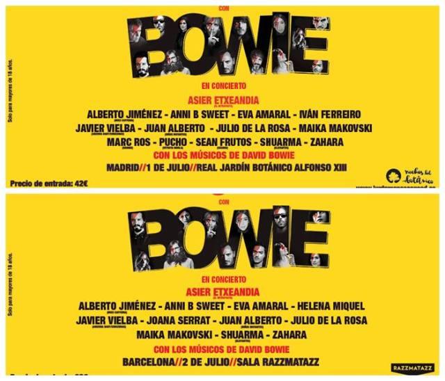 Cartel de artistas por ciudades en el homenaje a David Bowie en España.