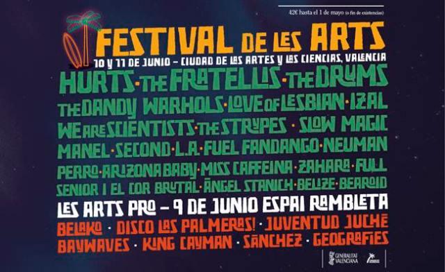 Cartel por días del festival Les Arts