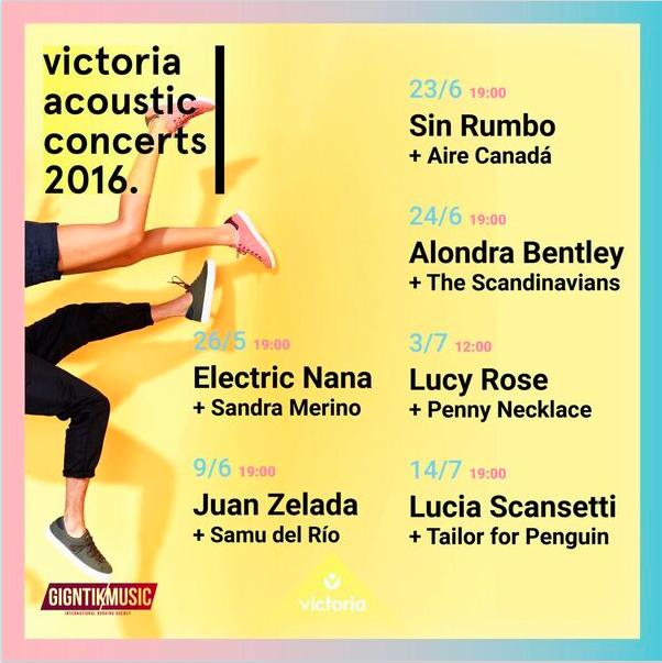 Cartel de los Victoria Acoustic Concerts.