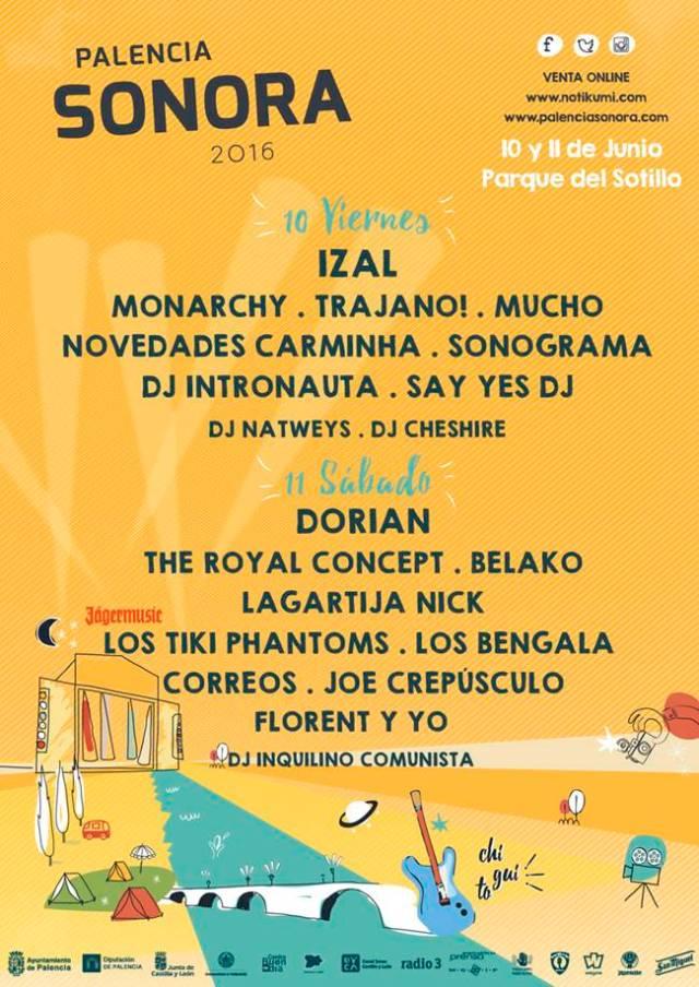 Cartel por días del festival Palencia Sonora.