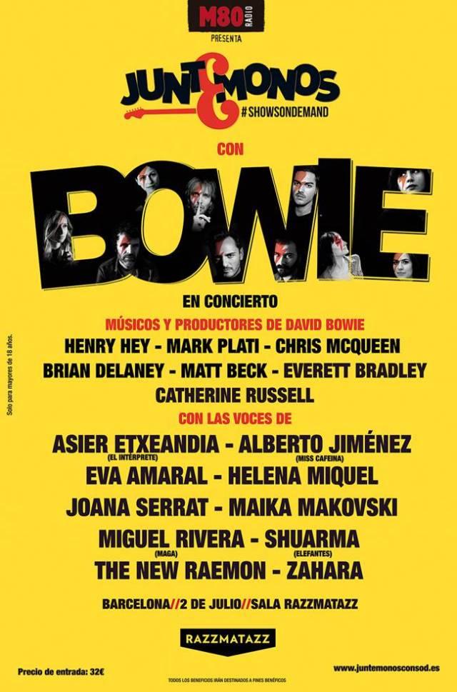 Cartel definitvo de Juntémonos con Bowie en Barcelona.