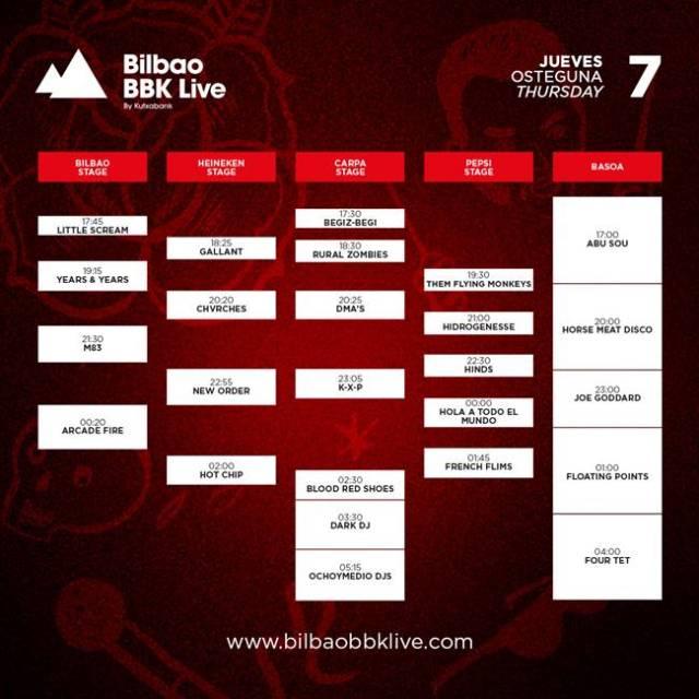 Horarios Jueves Bilbao BBK Live