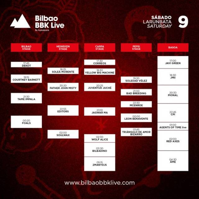 Horarios sábado Bilbao BBK Live
