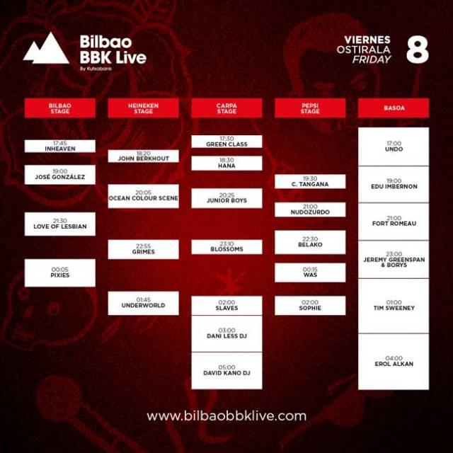 Horarios viernes Bilbao BBK Live