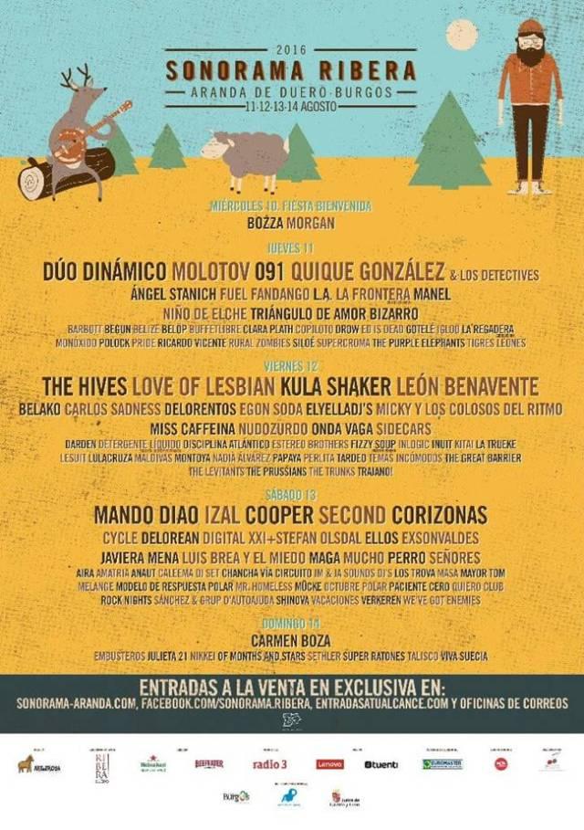 Cartel por días de la edición 2016 de Sonorama Ribera