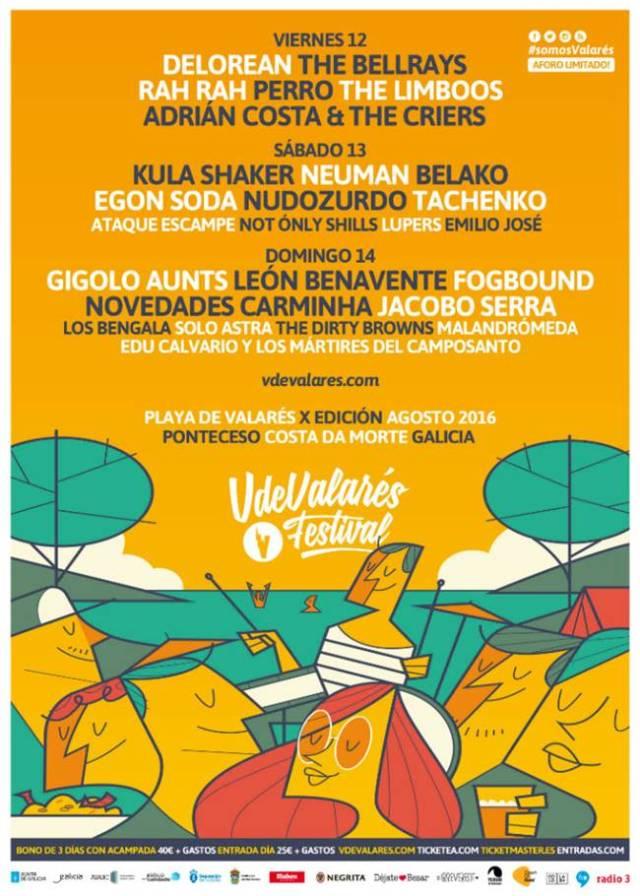 Cartel por días del festival V de Valarés