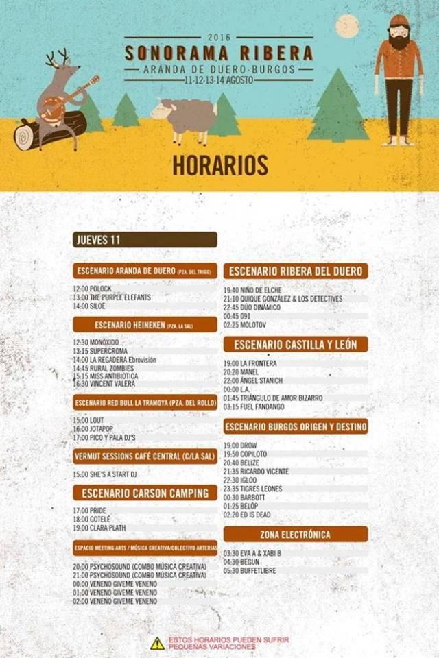 Horarios Sonorama Ribera 2016 Jueves