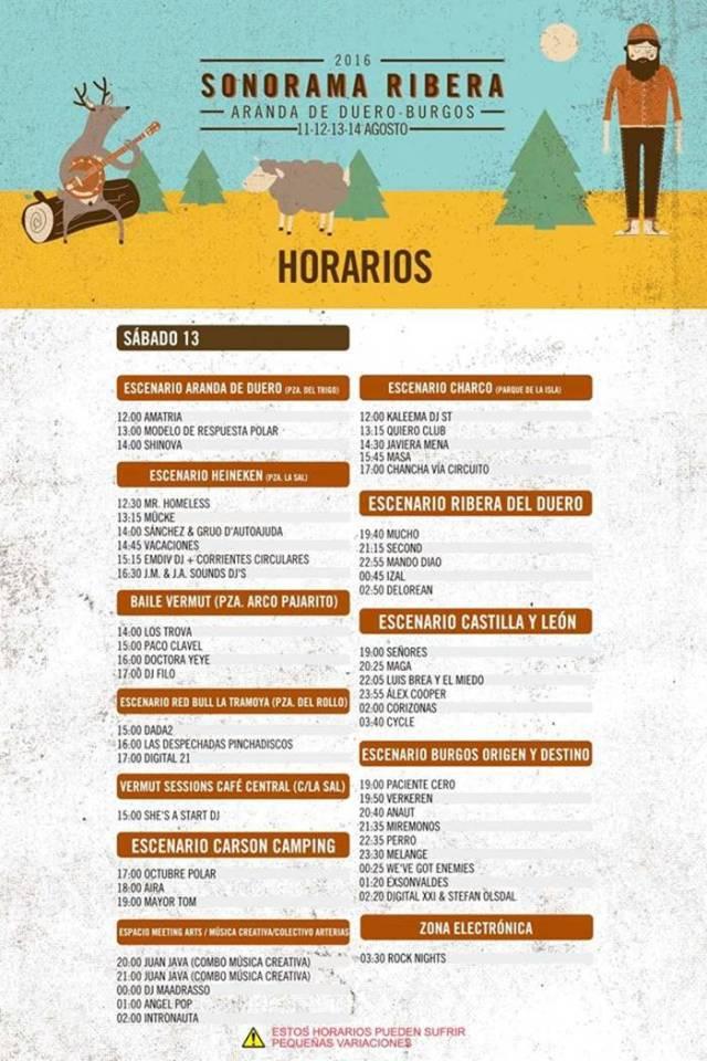 Horarios Sonorama Ribera 2016 Sábado.