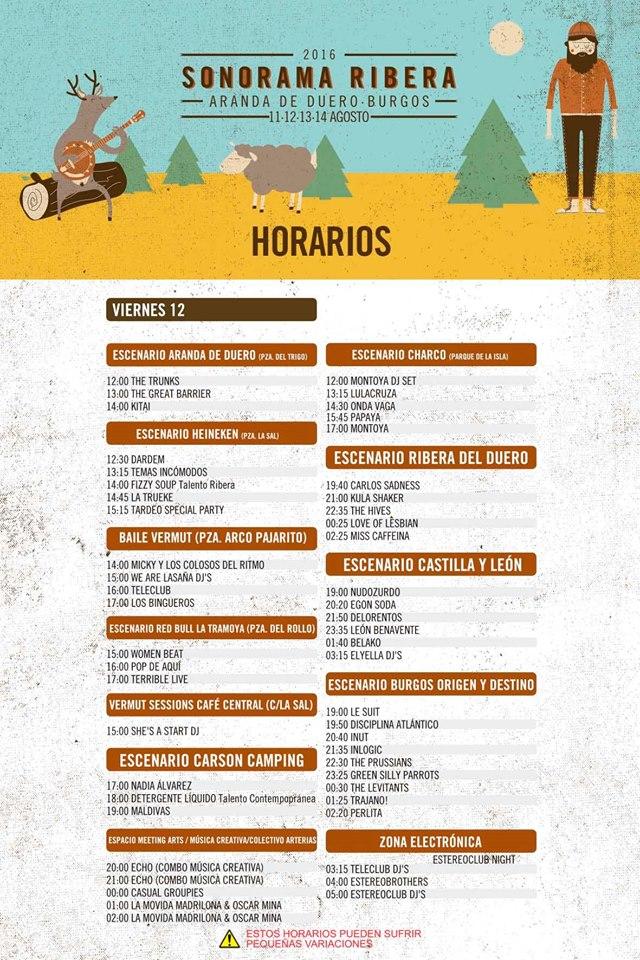 Horarios Sonorama Ribera 2016 Viernes