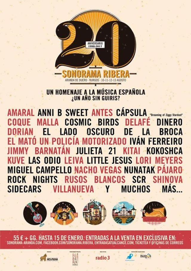 Cartel del Sonorama Ribera 20