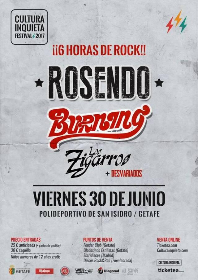 6 horas de rock con Rosendo, Burning, Los Zigarros y Desvariados.